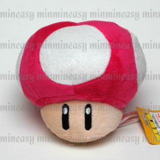 "Nintendo Game Super Mario 4"" L Red Mushroom Plush Toy Soft Stuffed Animal Doll"