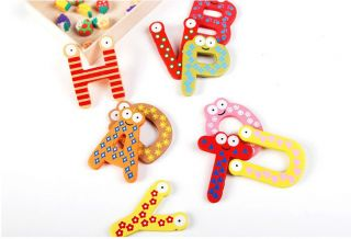 26 Alphabet A Z Letters Wood Fridge Magnets Baby Educational Toy Set