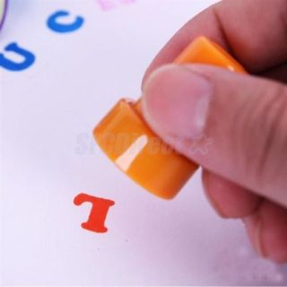 26 Assorted Self Inking Stamp Plastic Letter Kids DIY Fun Craft Party Favor Gift