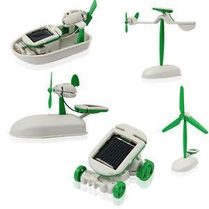 6 in 1 Solar Energy Educational DIY Toy Robot Boat Car Plane Windmill Kit