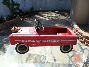 Vintage Kids Fire Truck Pedal Car Metal