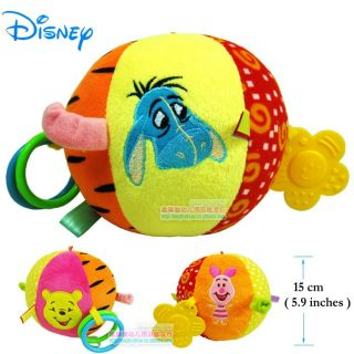 1× Disney Rattles Teether Ball Developmental Soft Stuffed Plush on The Go Toys