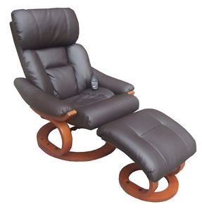 Deluxe Heated Reclining Massage Chair w Ottoman Cozy Recliner Upholstered