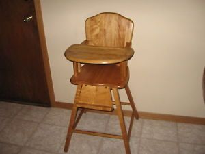 Vintage Wooden Baby High Chair Maple No Safety Strap Local Pick Up LKVL MN