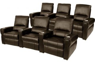 Pallas Home Theater Seating 6 Leather Seats Manual Recliner Brown Chairs