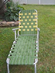 Vtg Retro Avocado Green Yellow Aluminum Chaise Lounge Chair