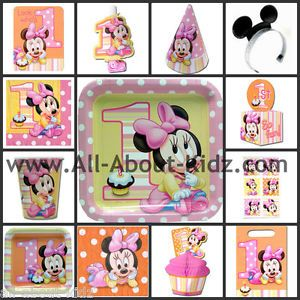 Disney Baby Minnie Mouse 1st First Birthday Party Supplies Make Your Own Set