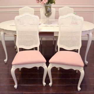 Shabby Cottage Chic Set of 5 Cane Back Pink Linen French Style Dining Chairs WOW