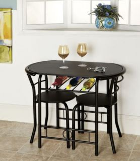 Bistro Table 3 Piece Set with 2 Chairs Black Oval Table