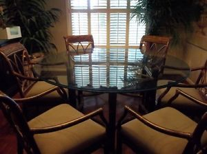"60"" Rattan and Glass Top Table by Bernhardt 3 4"" Beveled Glass 6 Arm Chairs"