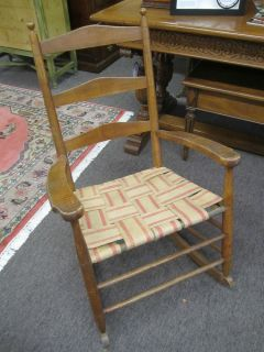 Antique Arts Crafts Shaker Style Ladder Back Rocking Chair Tiger Maple 1800s