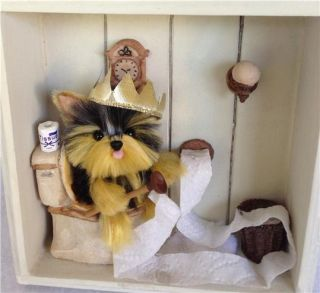 "Yorkie Yorkshire Terrier ""Bathroom Fun"" Shabby Chic Shadow Box OOAK"
