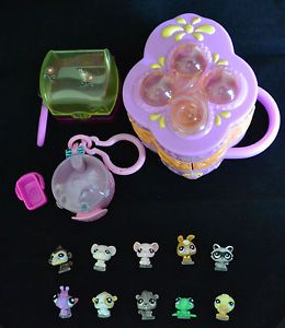 Littlest Pet Shop LPS Teeniest Tiniest Playset Cases 10 Teensies Pets Lot