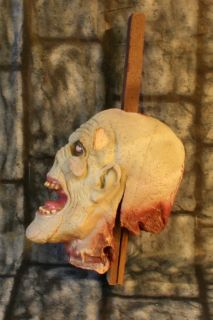 Life Size Realistic Staked Zombie Severed Head Halloween Prop