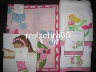 Pottery Barn Kids Girl Pink Mermaid Bath Towels Mat Shower Curtain 5 PC Set