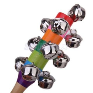 Wooden Jingle Hand Bells Kids Toddler Baby Music Educational Toy
