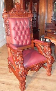 Light Color Mahogany Wood Cross Lion Face King Throne Bishop Chair