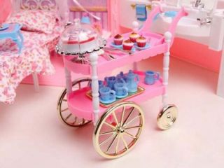 2X DIY Dollhouse Furniture Cake Cart with Birthday Cake Set for Barbie Doll