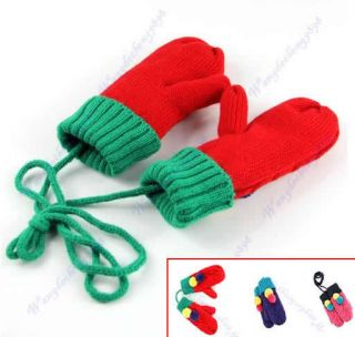 New Kids Baby Toddler Children Knitting Velvet Winter Warm String Mittens Gloves