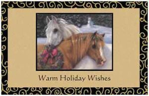 20 Christmas Two Horses Wreath Flat 5x7 Cards Envelopes Seals Holiday Greeting