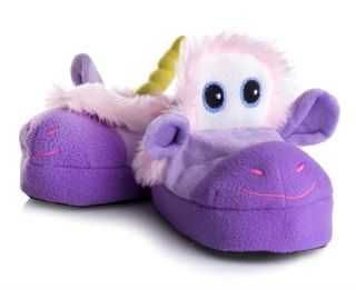 Size 2 Kids Girls Unicorn Slippers Purple Plush Warm Furry Bed Shoes