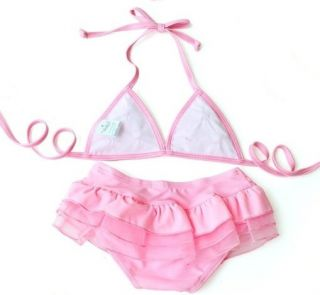 New Baby Girls Swimwear Pink Flower Kids Swimsuit Bikini Skirt Size 2 6T