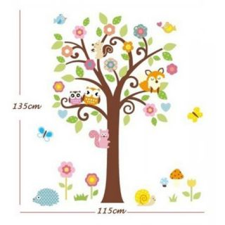 Amazing Large Owls Animals Forest Flowers Tree Wall Stickers Decals Kids Nursery