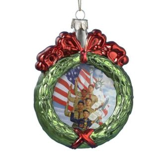 "Kurt s Adler 4 5"" Boy Scouts of America Wreath Glass Christmas Ornament BS4131"