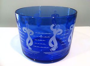 1930s Art Deco Hazel Atlas Dancing Sailor Cobalt Blue Glass Cocktail Ice Bucket