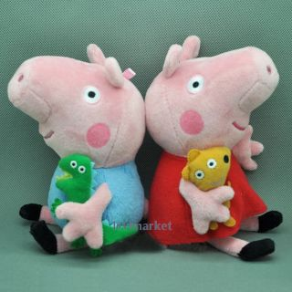 "2 Pcs Cute Peppa Pig Plush Doll Stuffed Toys Figure Peppa George 8"" Kids Gift"