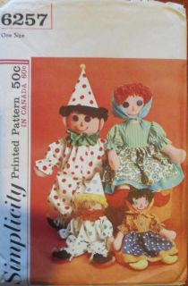 Vintage 1960's Clown Peasant Rag Dolls Pattern Simplicity 6257 Stuffed Toy