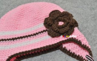 Baby Kids Child Girls Toddler Crochet Knitted Beanie Handmade Hat Cap MZ0630