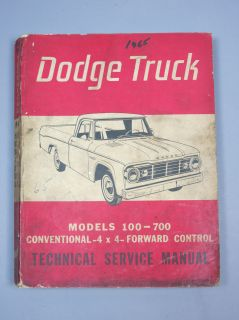 1965 Dodge Power Wagon Pickup Panel Truck Technical Service Procedure Manual