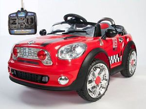 Double Engine Kids Ride on Power Mini Cooper Style Wheels Car Remote Control Red