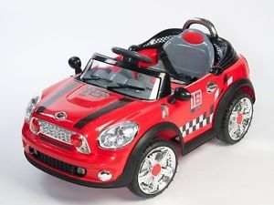 Double Engine Kids Ride on Power Cooper Style Wheels Mini Car Remote Control Red