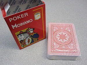 Modiano Italy Playing Cards Poker Game Deck 100 Plastic Casino Large Index Red