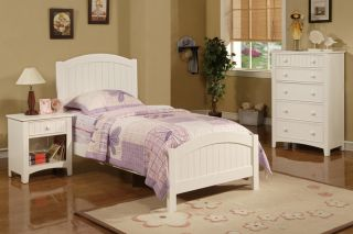 New Lovely Girls Kids Youth Cottage Pure White Wood Beadboard Twin Panel Bed