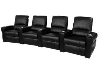 Pallas Home Theater Seating 4 Leather Manual Seats Black Chairs