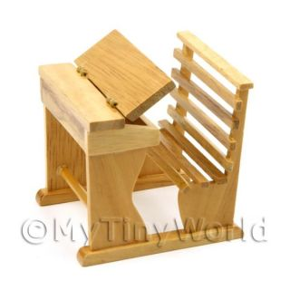 Childs Wood Seat and Desk Dolls House Furniture FR22