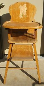 Vintage Wooden Baby High Chair Wood Pick Up Only Kansas