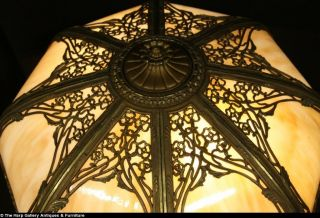 Stained Glass 1910 Antique Panel Table Lamp