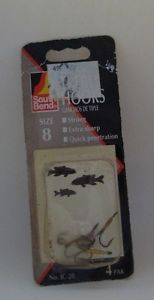 South Bend Treble Hooks Size 8 4 Pack Vintage Game Fishing Lures Unopened