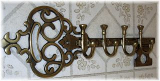 Large Decorative Brass Victorian Key Rack Coat Hooks