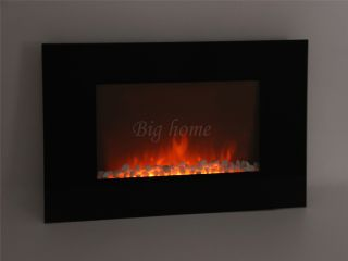 "Electric Wall Mount Fireplace 36"" Glass Pebbles w Remote Control Heater BIG530EP"