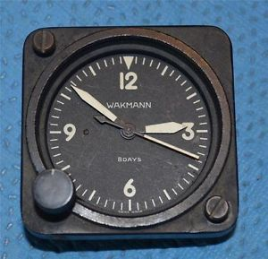Wakmann 8 Day Swiss 7 Jewel Aircraft Clock Case Movement with Dial for Parts