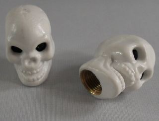 "2 White ""Skull"" Custom Valve Stem Caps for Motorcycle Car Wheel Air Tire Rims"
