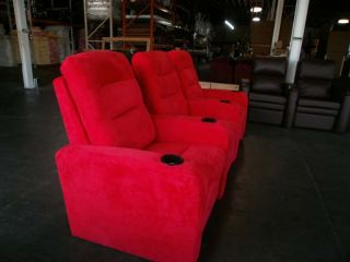 Seatcraft Excalibur Red Row of 3 Home Theater Seats