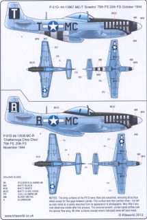 Kits World Decals 1 72 North American P 51D Mustang 20th Fighter Group