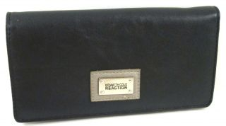 Kenneth Cole Reaction Black Pewter Faux Leather Two Tone Slim Clutch Wallet