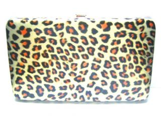 Gold Leopard Print Flat Clutch Wallet w Checkbook Cover